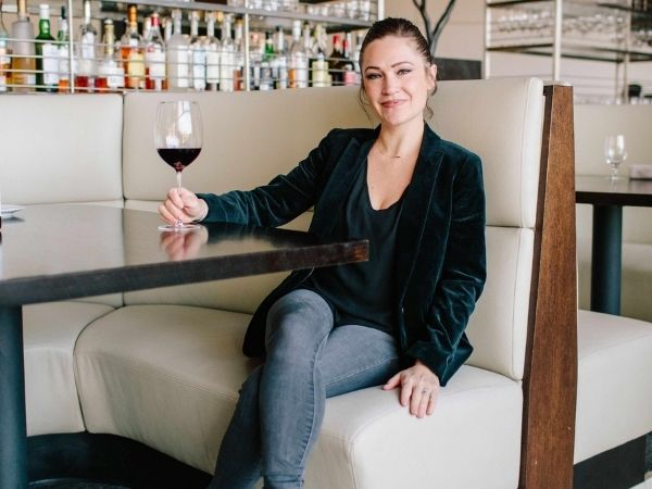 Rachel enjoying a glass of wine
