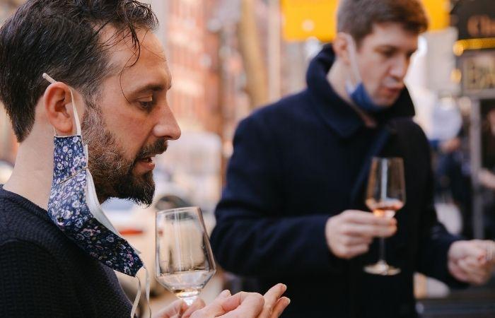 drinking wine outdoors
