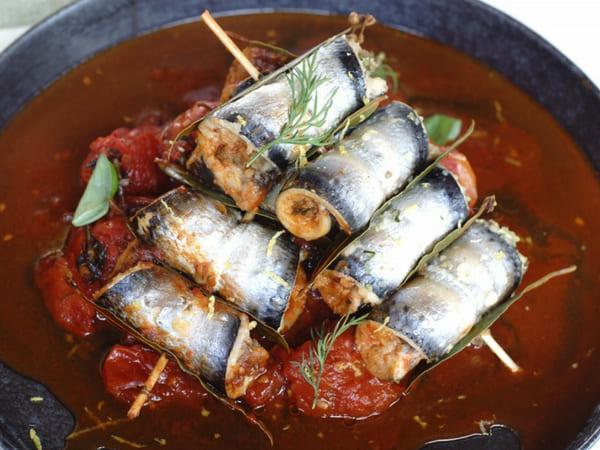 Sicilian Sarde a Beccafico Sardines and Tomato Sauce